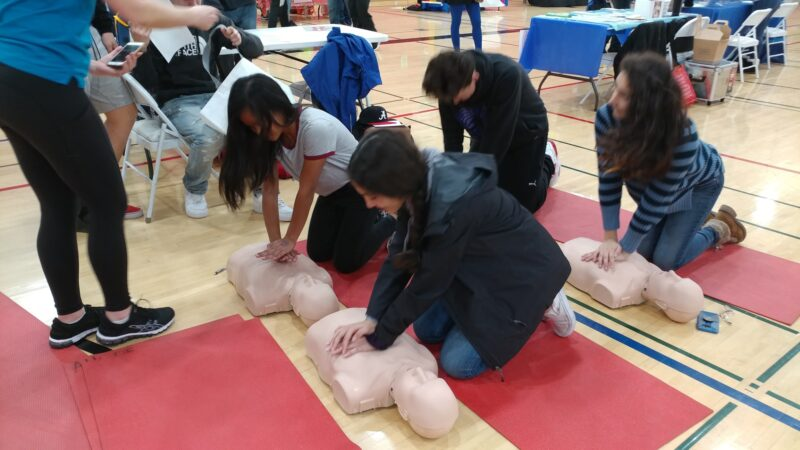 CPR training on dummies